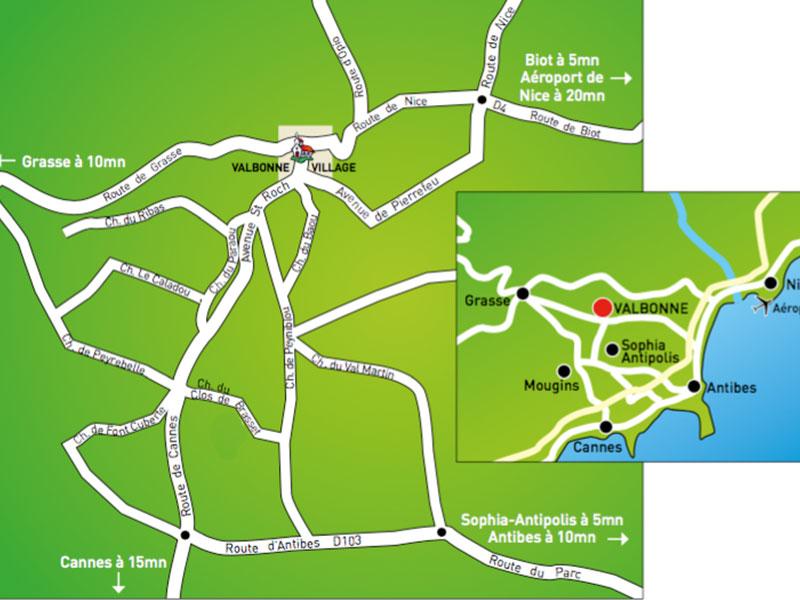 Bouwgrond, terrein te koop dichtbij Valbonne centrum